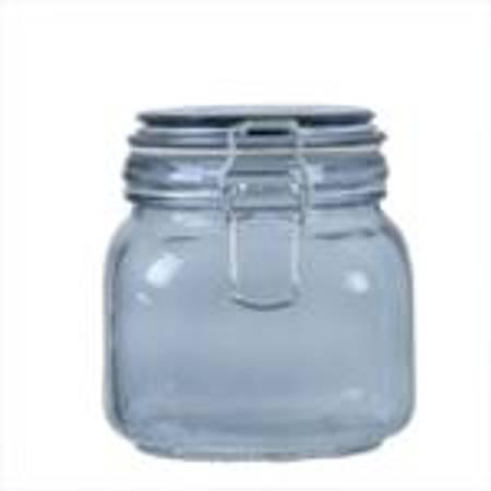 Glass m lokk blå M