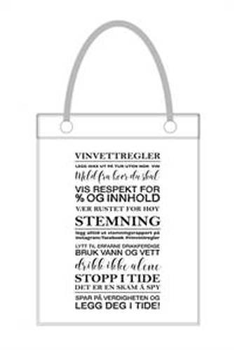 Vinpose m/ vinvettregler hvit skrift