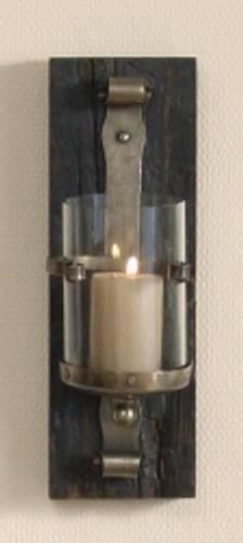 Lysestake med glasskolbe mørkt tre