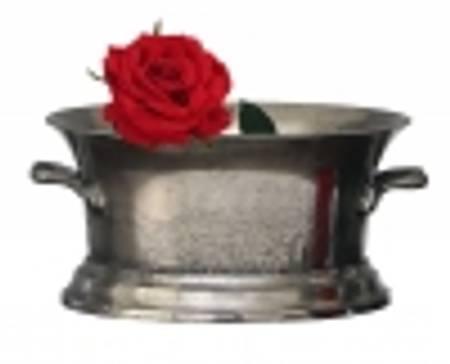 Oval potte L i antikk sølv